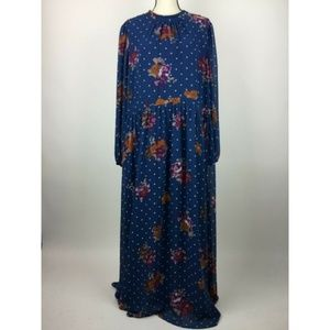 Modcloth Maxi Dress 3X Blue Floral Keyhole A10-15Z